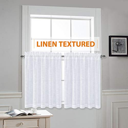 - RYB HOME Linen Like White Sheer Drapes Valances Tiers Rod Pocket Casual Weave Textured Luxurious Semi-Sheer Drapes for Small Window, White, Wide 52