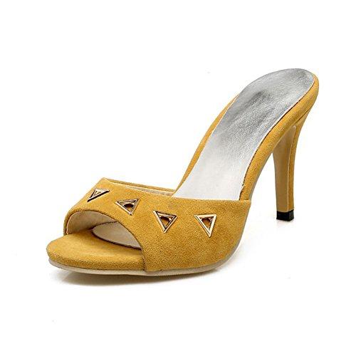 Easemax Womens Mode Hög Klack Peep Toe Mule Sandaler Gul