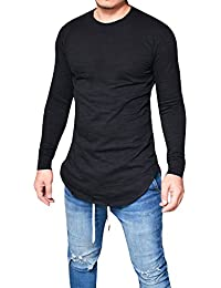 Men's Casual Solid Long Sleeve Hipster Hip Pop SWAG Curved Hem T-Shirt