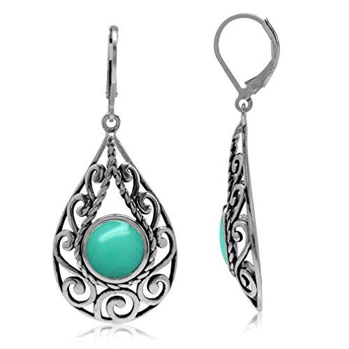 Created Green Turquoise 925 Sterling Silver Filigree Swirl & Spiral Drop Shape Leverback Earrings