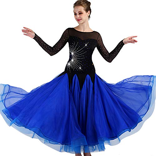 garudaレディース社交ダンスドレス パーティーダンス2次会発表会ワンピースドレス 黒青 サイズオーダー対応 B07J36B7RP 黒青,Small