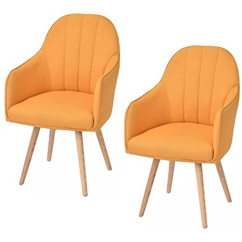 Giantex Set Of 2 Accent Dining Chairs Style Arm Chair Modern w/Wood Legs Yellow ()