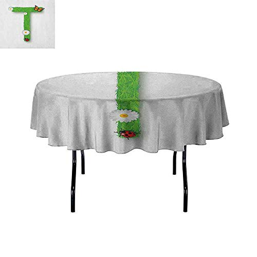 Douglas Hill Letter T Washable Tablecloth Caps T with Flourishing Fragrance Botanical Design and Ladybug Girls Room Dinner Picnic Home Decor D35 Inch Green Multicolor