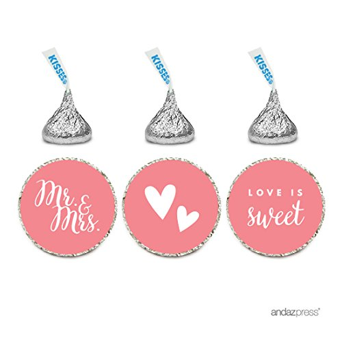 Andaz Press Chocolate Drop Labels Trio, Fits Hershey's Kisses, Wedding Mr. & Mrs., Coral, 216-Pack, For Bridal Shower, Engagement Party Favors, Gifts, Stationery, Envelopes, Decor, Decorations