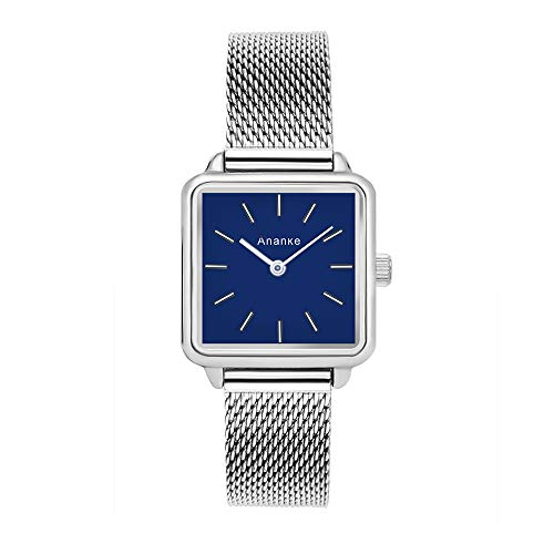 ANANKE Women Silver Watches Stainless Steel Mesh Lady Girls Square Quartz Watches Waterproof Blue Dial Aanalog Wristwatches