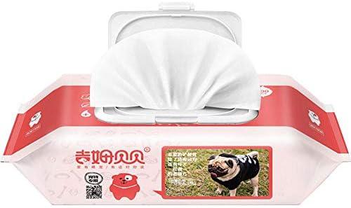 KOBWA Toallitas húmedas y Gruesas Mascotas, hipoalergénicas, para Perros y Gatos, sin Fragancia, orgánicas y antibacterianas, 80 por Paquete