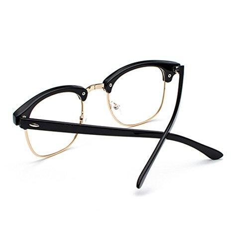 Inlefen y Mujeres Oro C1 hombres marco Negro UV400 retro lentes Medio de polarizados Gafas sol qSrT18wqH