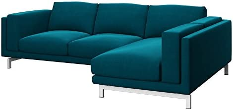 Soferia - Replacement Cover for IKEA NOCKEBY 2-seat Sofa with Right Chaise Longue, Elegance Turquoise