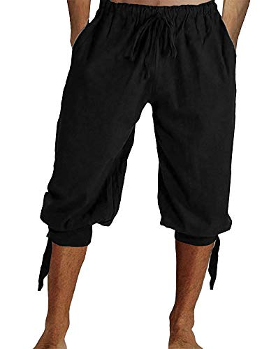 Tenkilo Mens Renaissance Pirate Costume Medieval Pants Viking Cosplay Knicker Knee Length Cotton Linen Shorts Black -