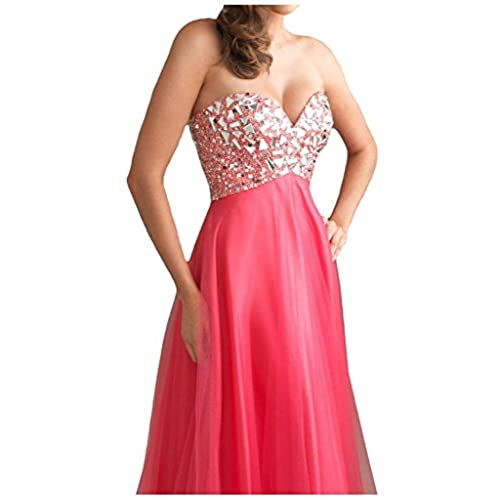 Ouman Womens Long Tulle Party Dress Prom Gown Pink L