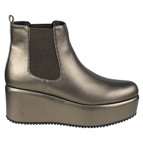 Pull Boot Beston Womens On Ankle Chelsea Platform Panels Wedge Elastic Pewter EI54 vO7qI