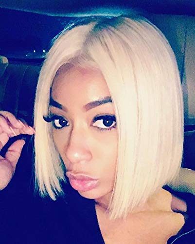 SeraphicWig Blonde Bob Wig Human Hair Short Straight 613 Bob Lace Front Wig Medium Size Cap Brazilian Remy Hair Pre plucked Hairline with baby hair