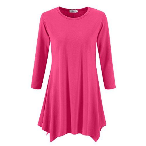 Topdress Women's Swing Tunic Tops 3/4 Sleeve Loose T-Shirt Dress Fuchisa M