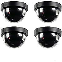 4 x Cámaras CCTV de imitación para seguridad con luz intermitente LED roja.
