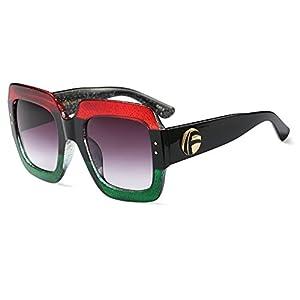 Extra Large Square Sunglasses for Women Vintage Retro Glitter Plastic Frame (Red Green, 70)