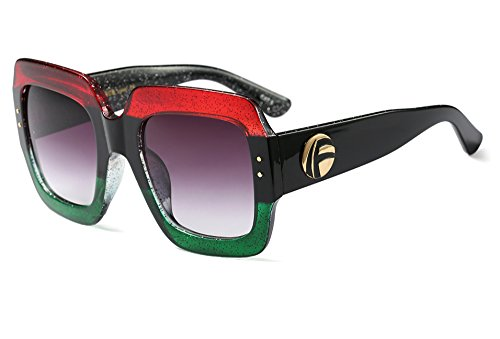 Women Sunglasses Oversized Squared Rectangular Frame Designer Bold Statement (Multi-tinted: Red Green, 70)