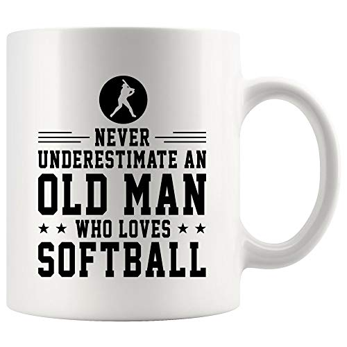 Softball Coffee Mug Beer Cup - Never Underestimate Old Man Loves Softball Gift for Player Fan Coach Trainer Instructor Referee Team Mom Dad Novelty Tea Mugs]()