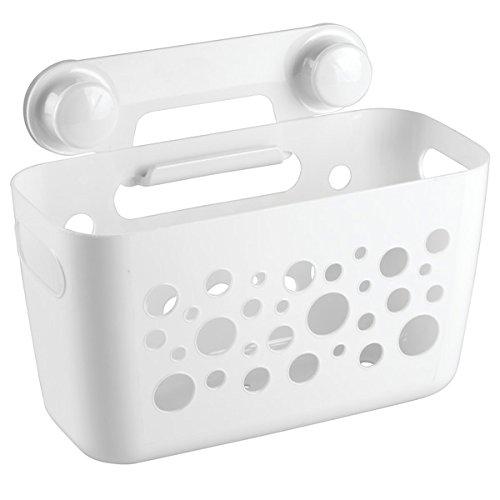 Cesto organizador de baño mDesign color blanco con ventosas - Material  resistente - Perfecto para el almacenamiento de productos como champú y  cremas  ... ce7ee55cbab8