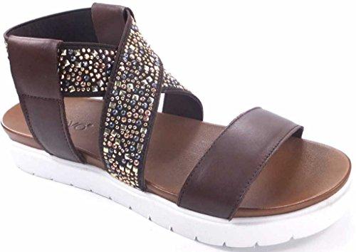 en 5175 dark Inuovo marron sandale véritable cuir foncé marron brown inuovo Xq6HTq