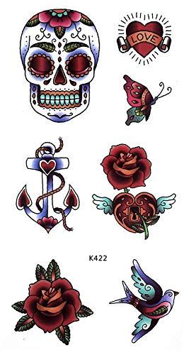 K422 - Tatuaje de rosas con calavera, tatuaje de fiesta: Amazon.es ...