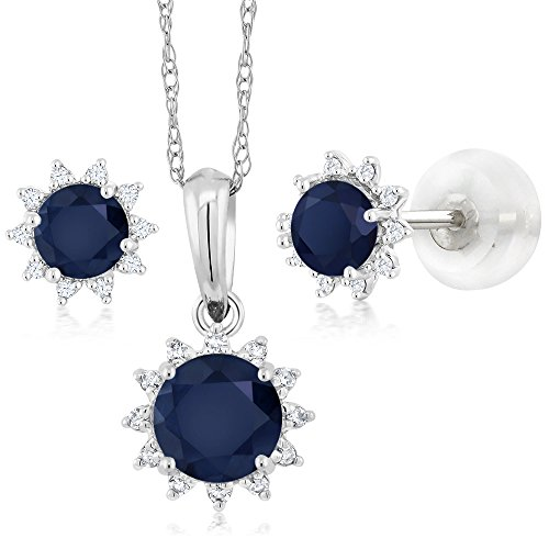 18K White Gold 1.66 Ct Blue Sapphire and Diamond Pendant Earrings Set by Gem Stone King