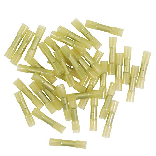 Jeemitery 100pcs 12-10AWG Insulated Heat Shrink Wire Connector Butt Kit Waterproof Electrical Crimp Terminal-Yellow ()