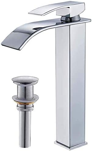 Rozin Bathroom Tall Body Vessel Sink Faucet Waterfall Countertop Mixer Tap with Pop Up Drain Chrome
