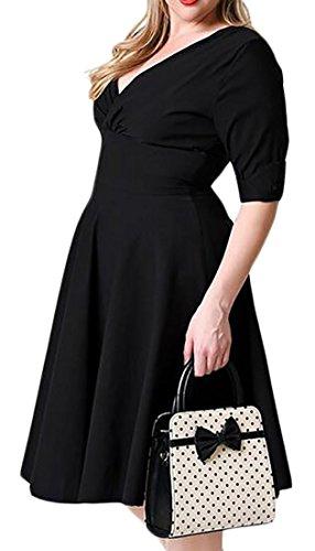 Cromoncent Des Femmes De Manches Casual Demi Extensible Couleur Unie Mini-torche Noir Robe