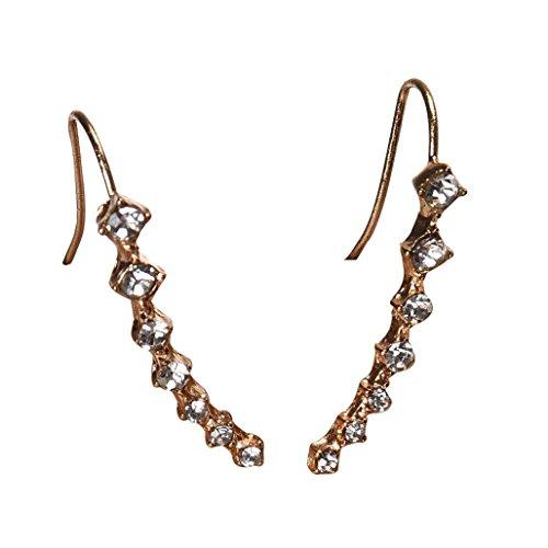 Studs Earrings, Shybuy Womens Fashion Crystal Ear Crawler Studs Earrings Ear Climber Jacket (Gold)