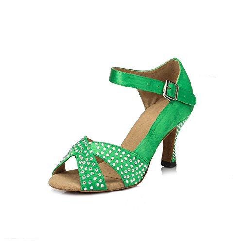 Crc Donna Elegante Scintilla Rhinestone Raso Da Ballo Morden Tango Partito Da Sposa Scarpe Da Ballo Professionale Verde