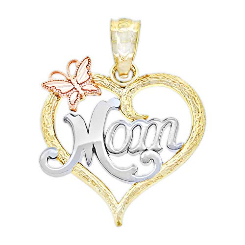 Rhodium Mom Heart Charm - Charm America Gold Mom Inside Heart Charm - 10k Solid Gold - Mother's Day Jewelry