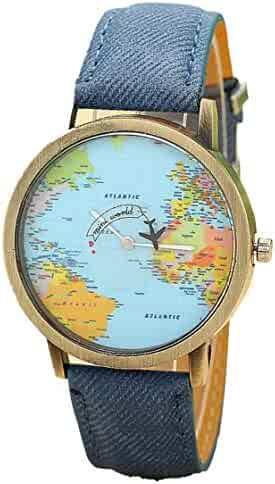 Women's Watch, Clearance Sale! Ladies World Map Pattern Watch Faux Leather Band Analog Quartz Vogue Wrist Watch