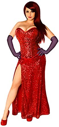 Daisy Corsets Women's Top Drawer Miss Jessica Costume, Red, 2X