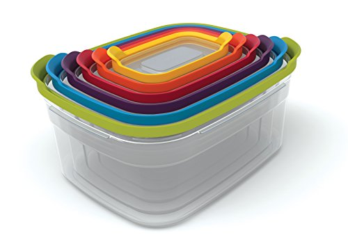 Joseph Joseph 81009 Nest Storage Plastic Food Storage Containers Set with Lids Airtight Microwave Safe, 12-Piece