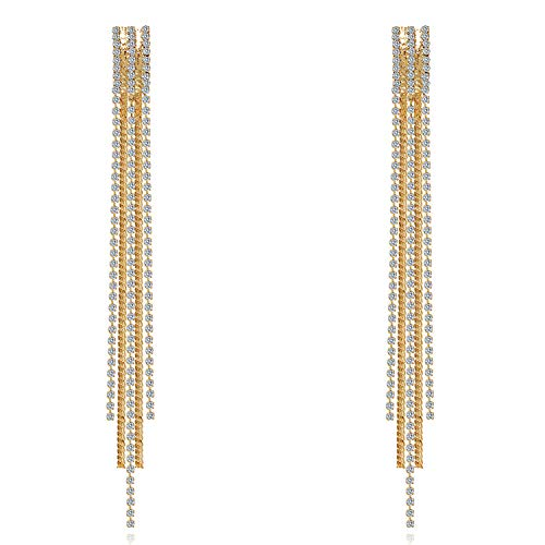 (Feximzl Fashion Long Bling Bling Tassel Earrings Statement Art Deco Great Rhinestone Crystal Drop)