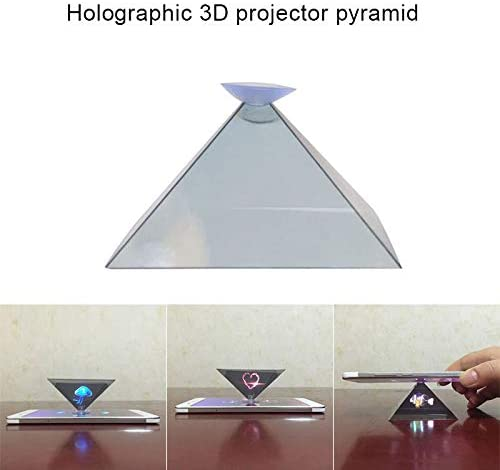 YWILLINK 3D Hologram Pyramid Display Projector Video Stand Portable for Smart Mobile Phone