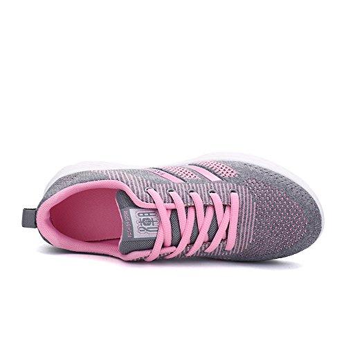 Cooga Kvinners Strikke Mesh Skjegg Walking Sko Lighweight Joggesko Pink