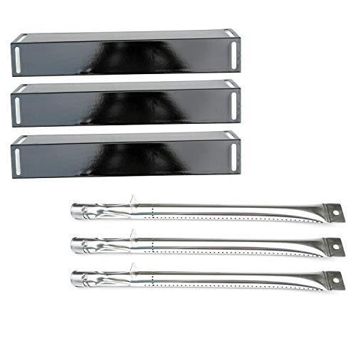 Direct store Parts Kit DG116 Replacement BBQ Grillware GGPL-2100 Gas Grill Burners, Heat Plates-3 Pack (Stainless Steel Burner + Porcelain Steel Heat Plate)