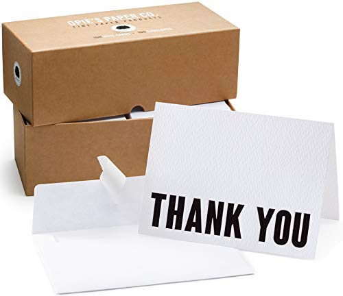 100 Letterpress Thank You Cards and Self Seal Envelopes. Perfect for Graduation, Business, Weddings - Opie's Paper Company (Black & White) - Letterpress Printed Card
