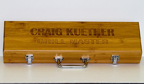 Customized Barbecue Tools Bamboo Presentation Case, Grill Master, Birthday, Housewarming Gift ()