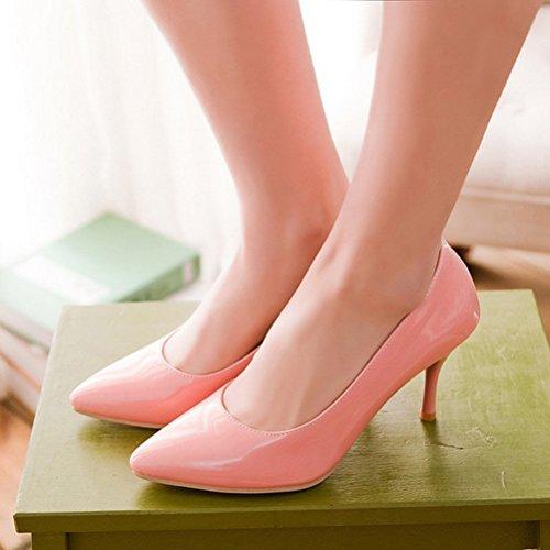 Eleganti Lavoro Rosa Tacco Vernice Alto Punta Da Scarpe Donna Con Slip On Spillo A Decolte Vitalo HqZtxY1O