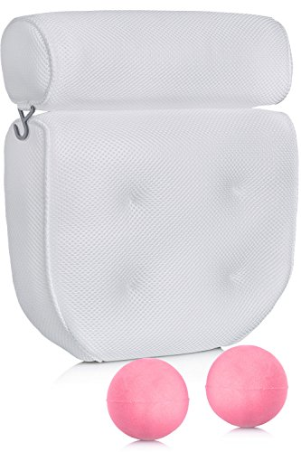 Luxury Spa Bath Pillow with 2 Bath Bombs – Bathtub Support for Back, Head and Shoulders - 4 Extra Large Suction Cups – Great Hot Tub Jacuzzi Accessory by Dr. Maya