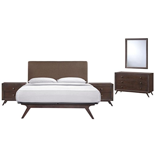 Modway Tracy Mid-Century Modern Wood Platform Queen Size Bed with Two Nightstands a Mirror and Dresser in Cappuccino ()