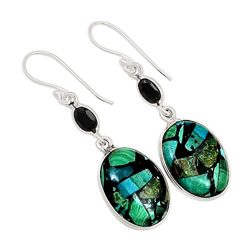 Earrings Onyx Malachite - Xtremegems Chrysocolla Malachite Matrix & Black Onyx 925 Sterling Silver Earrings Jewelry 1 3/4