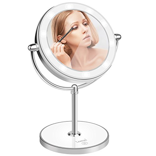 Leeron Double-Sided Lighted LED Makeup Mirror, 1x/10x Magnification, Vanity and Travel Mirror, makeup mirror 13-inch Height, Polished Chrome Finish