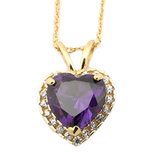 Large Amethyst Heart (14k Yellow Gold February Birthstone Simulated Amethyst CZ Large Halo Heart Pendant Necklace - 16