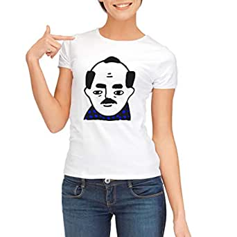 Demiz White Round Neck T-Shirt For Women