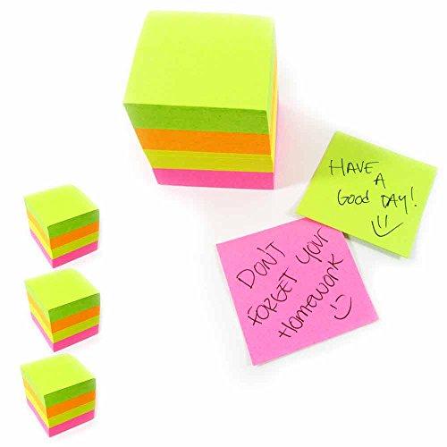 1600 Mini Post Sticky Notes Cube 1.5 X1.5 Self Adhesive Memo Pad 3Pk Office Desk New Memo Cube