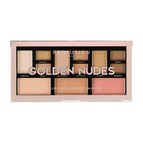 Profusion Cosmetics Mini Artistry 12 Shade Eyeshadow & Blush Palette, Golden Nudes