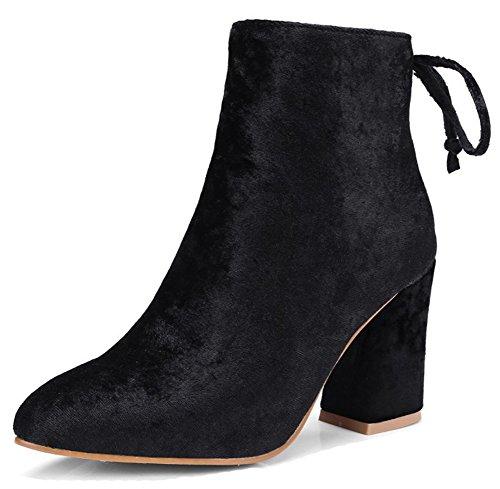 Aisun Womens Elegante Hoge Dikke Hak Aangeklede Enkellaarsjes In Zip Up Puntschoen Korte Laarzen Met Rits Zwart
